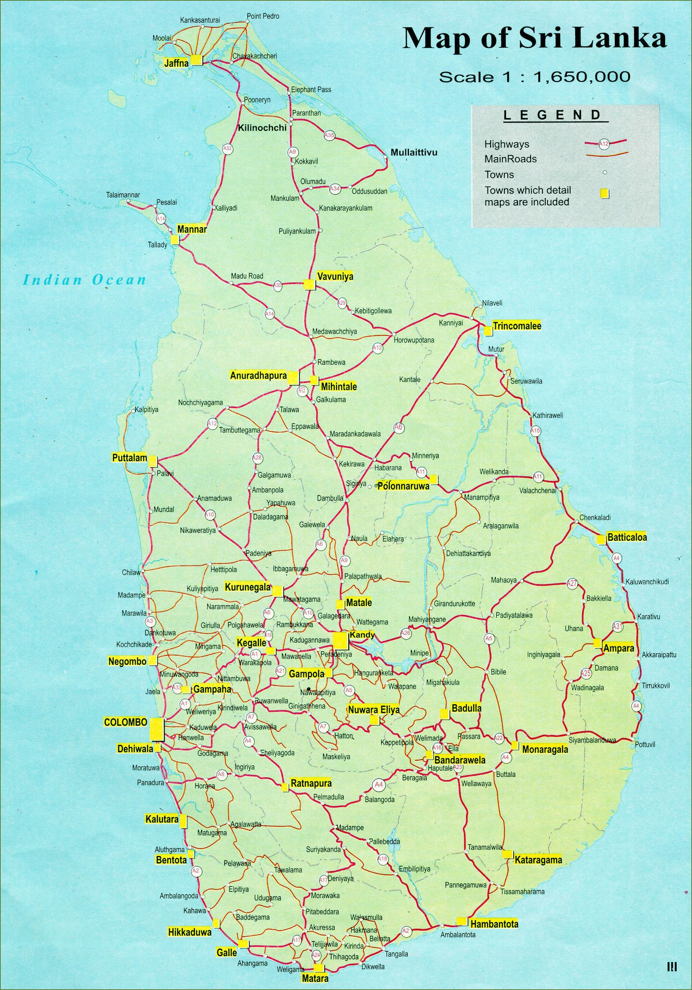 Map Of Asia Sri Lanka.Sri Lanka Road Map Road Distance Map Of Sri Lanka Southern Asia