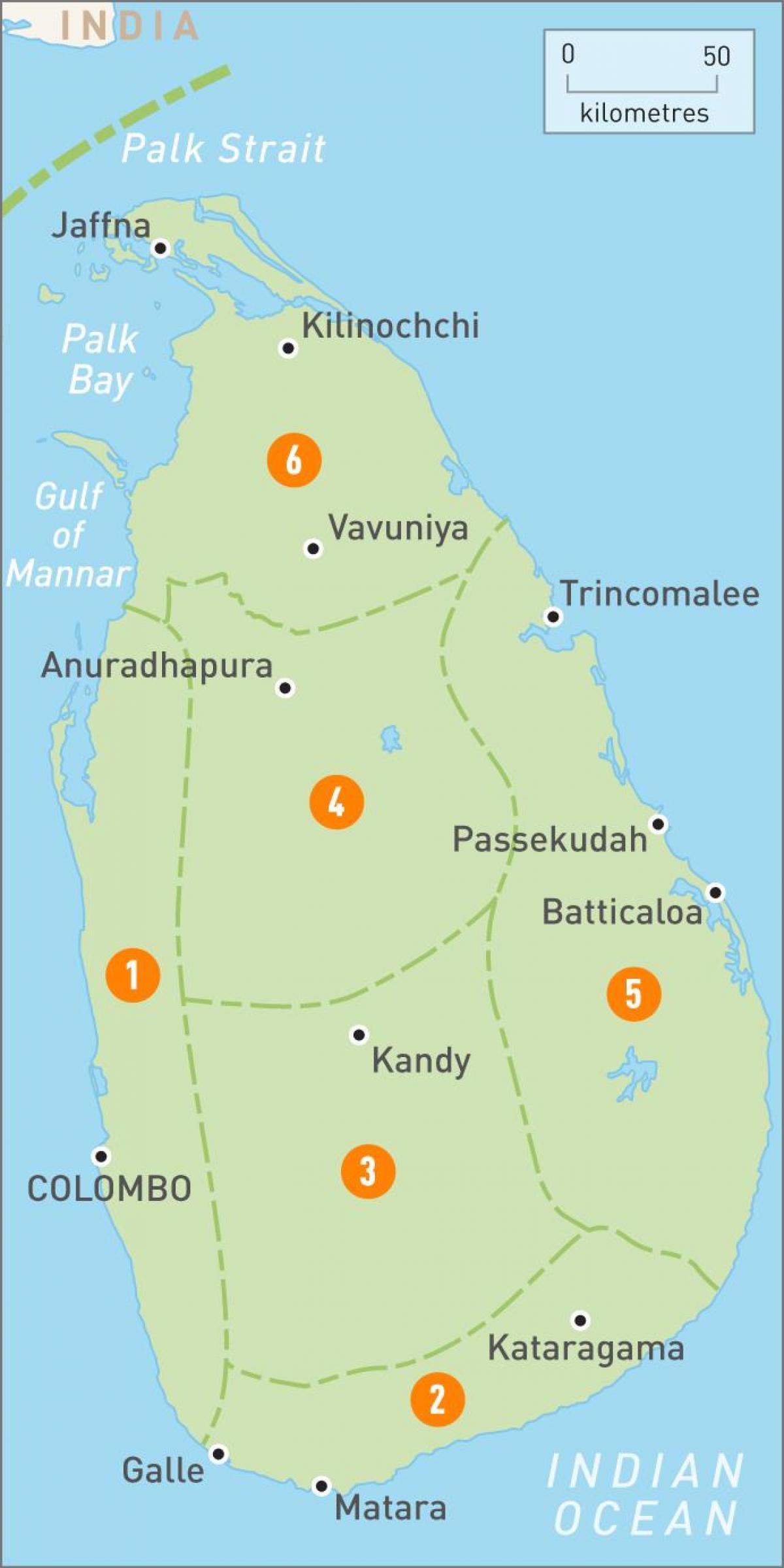 Sri Lanka regions map - Map of Sri Lanka regions (Southern ...