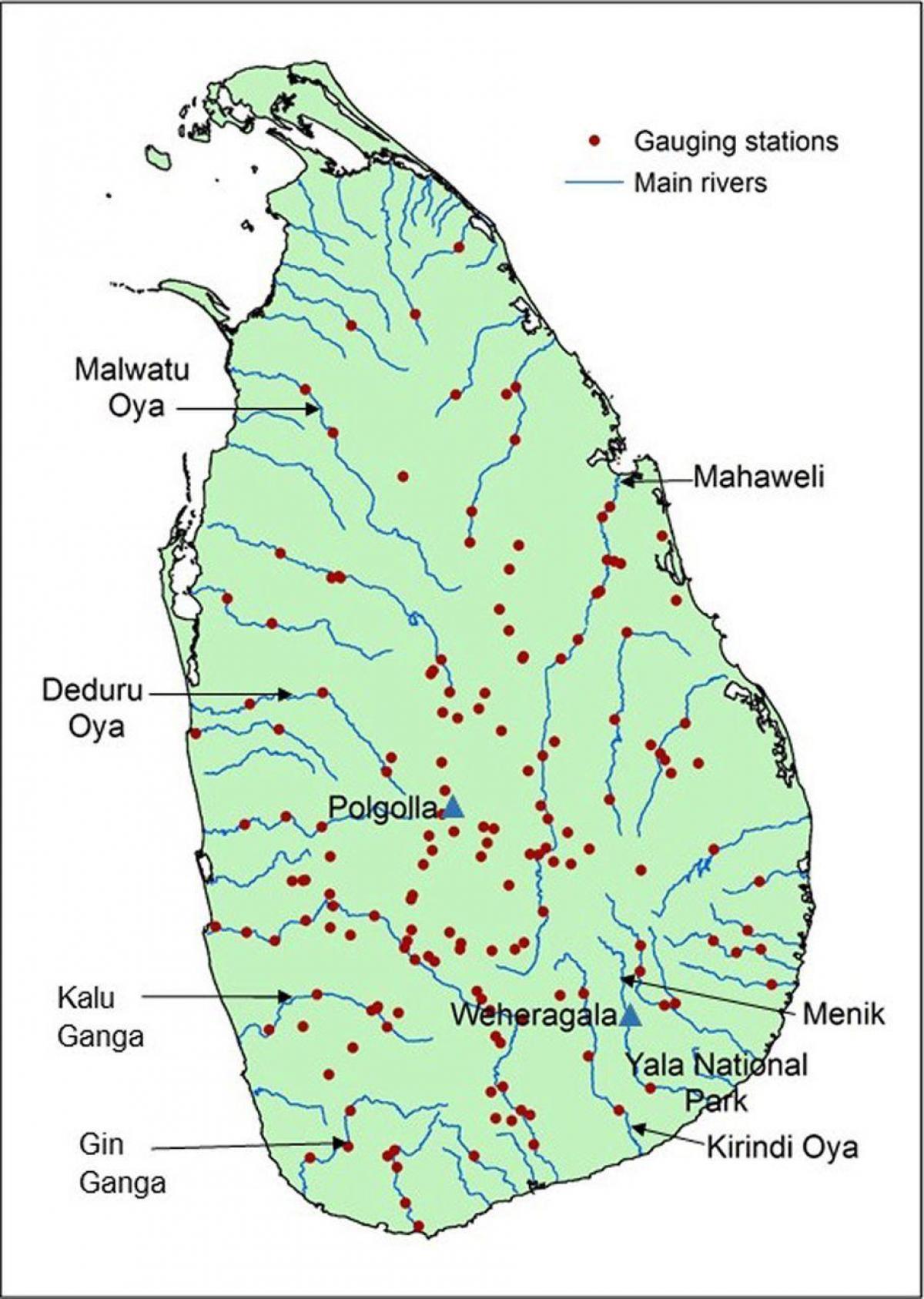 Sri Lanka river map - River map Sri Lanka (Southern Asia - Asia)