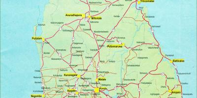 Map of Sri Lanka map with distance