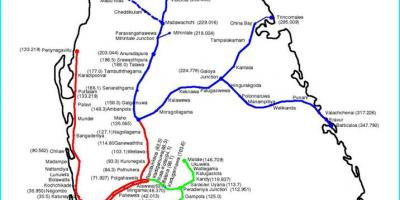 Railway route map Sri Lanka