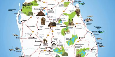 Tourist places in Sri Lanka map