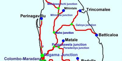 Trains in Sri Lanka map